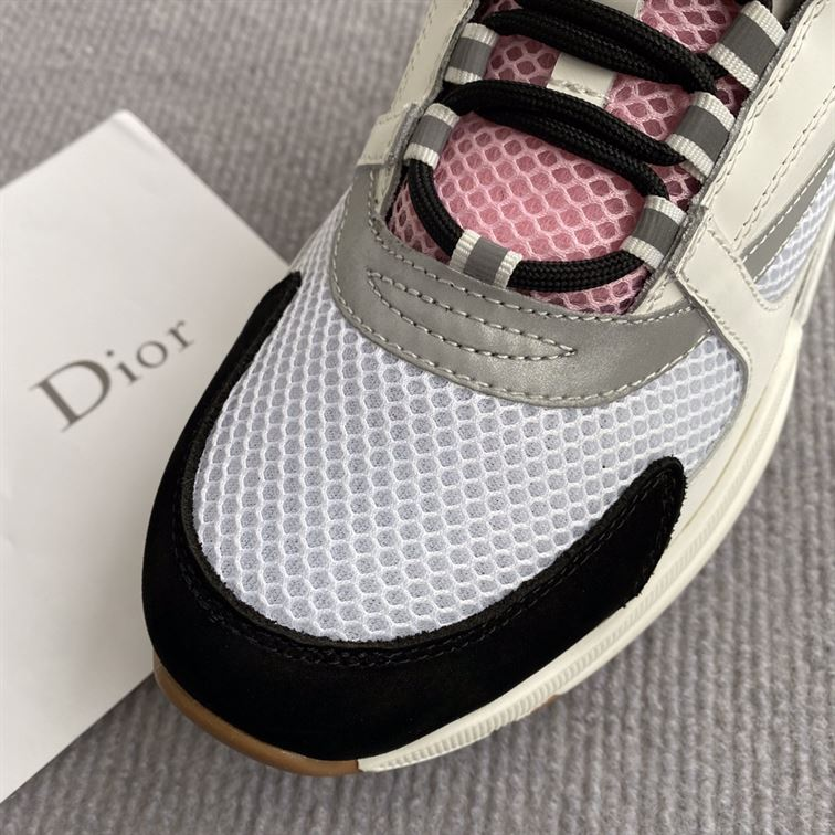 B22 Sneaker Off - White Calfskin With Pink And White Technical Mesh - Cdo056