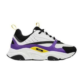 B22 Sneaker Violet And White Calfskin With White And Black Technical Mesh - Cdo053