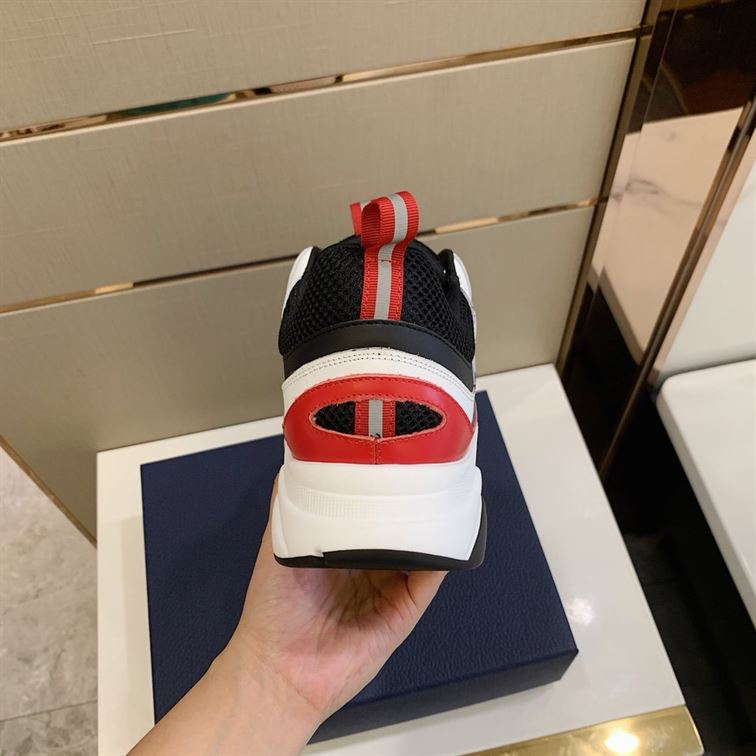 B22 Sneaker White And Black Technical Mesh And Red And White Calfskin - Cdo049