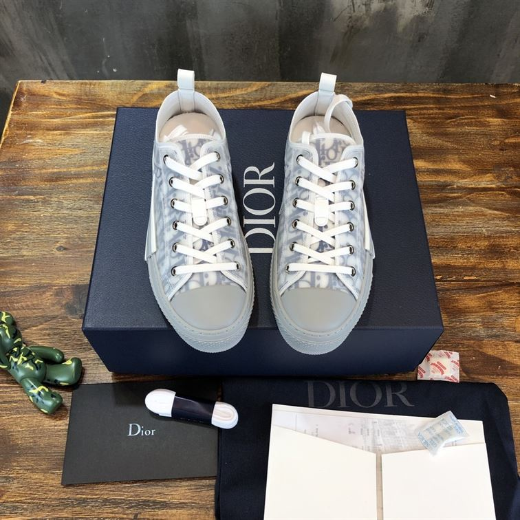B23 Low-Top Sneaker White And Navy Blue Dior Oblique Canvas - CDO071