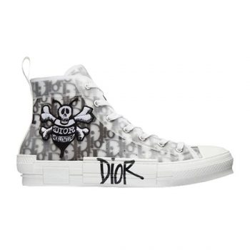 B23 OBLIQUE CANVAS BEE EMBROIDERY PATCH BLACK AND WHITE HIGH TOP SNEAKERS - CDO031