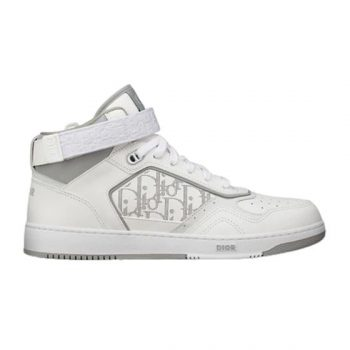 B27 HIGH-TOP WHITE AND GRAY SMOOTH CALFSKIN WITH WHITE DIOR OBLIQUE GALAXY LEATHER SNEAKER - CDO015