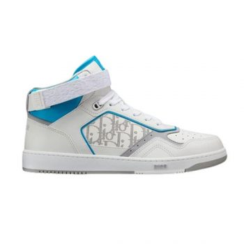 B27 HIGH-TOP WHITE AND LIGHT BLUE SMOOTH CALFSKIN WITH WHITE DIOR OBLIQUE GALAXY LEATHER SNEAKER - CDO024