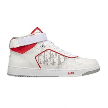 B27 HIGH-TOP WHITE AND RED SMOOTH CALFSKIN WITH WHITE DIOR OBLIQUE GALAXY LEATHER SNEAKER - CDO013