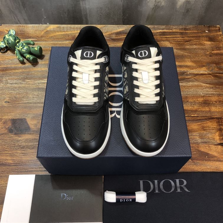 B27 LOW-TOP BLACK SMOOTH CALFSKIN WITH BEIGE AND BLACK DIOR OBLIQUE JACQUARD SNEAKER - CDO022
