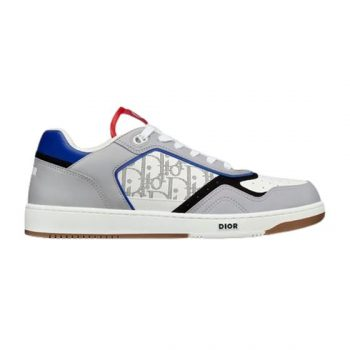 B27 LOW-TOP BLUE-GRAY AND WHITE SMOOTH CALFSKIN WITH WHITE DIOR OBLIQUE GALAXY LEATHER SNEAKER - CDO018