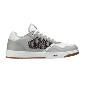 B27 LOW-TOP GRAY AND WHITE SMOOTH CALFSKIN WITH BEIGE AND BLACK DIOR OBLIQUE JACQUARD SNEAKER - CDO020