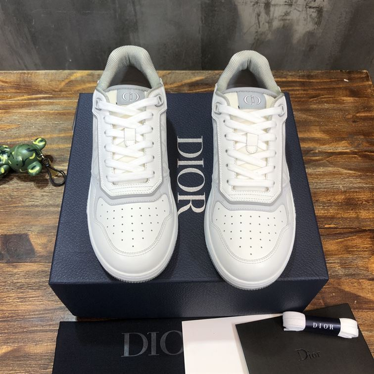 B27 LOW-TOP WHITE AND GRAY SMOOTH CALFSKIN WITH WHITE DIOR OBLIQUE GALAXY LEATHER SNEAKER - CDO016