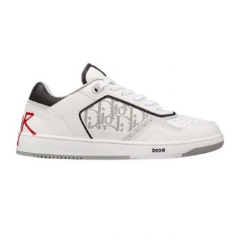B27 LOW-TOP WHITE CALFSKIN AND DIOR OBLIQUE GALAXY LEATHER WITH DIOR AND SHAWN SIGNATURE SNEAKER - CDO032