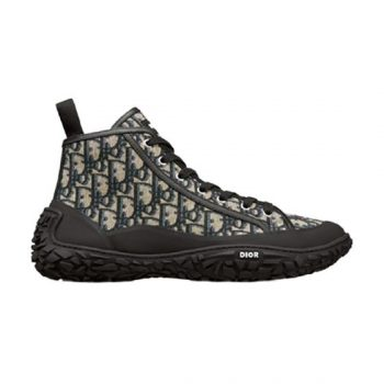 B28 High-Top Sneaker Beige And Black Dior Oblique Jacquard And Black Rubber - Cdo040