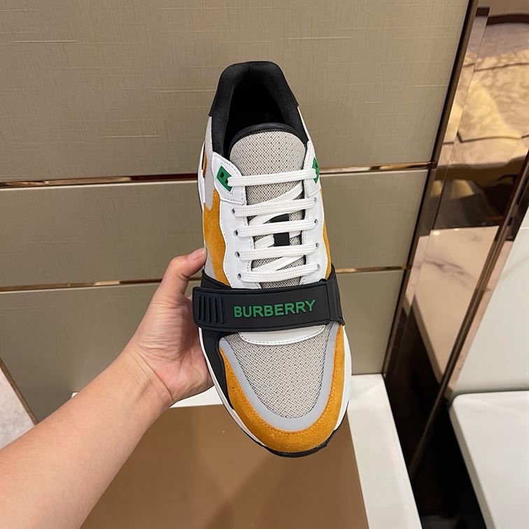 BURBERRY LOGO-STRAP LOW-TOP SNEAKERS - BBR02