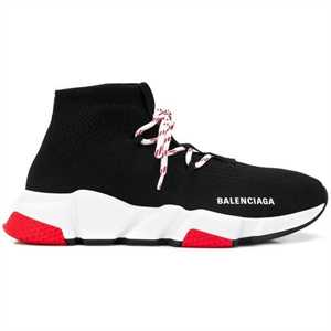 Balenciaga Speed Trainer Lace Up Black Red - Bb133