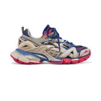 Balenciaga Track 2 Sneakers In Beige, Blue And Red - Bb042