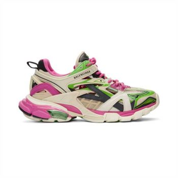 Balenciaga Track 2 Sneakers In White, Pink And Green - Bb102