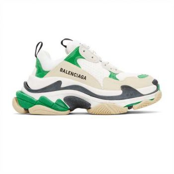 Balenciaga Triple S 3.0 Sneakers In White And Green - Bb086