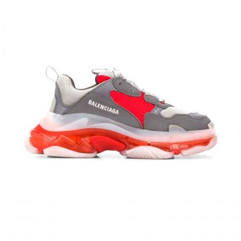 Balenciaga Triple S Clear Sole Sneakers In Grey And Red - Bb035