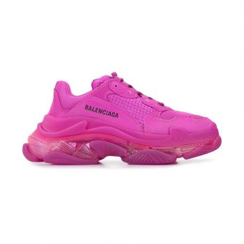 Balenciaga Triple S Clear Sole Sneakers In Pink - Bb039