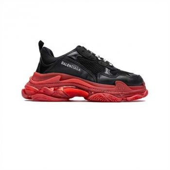 Balenciaga Triple S Clear Sole Sneakers In Red - Bb118