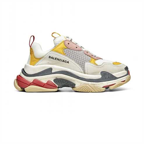 Balenciaga Triple S Sneakers In Cream Yellow And Red - Bb101
