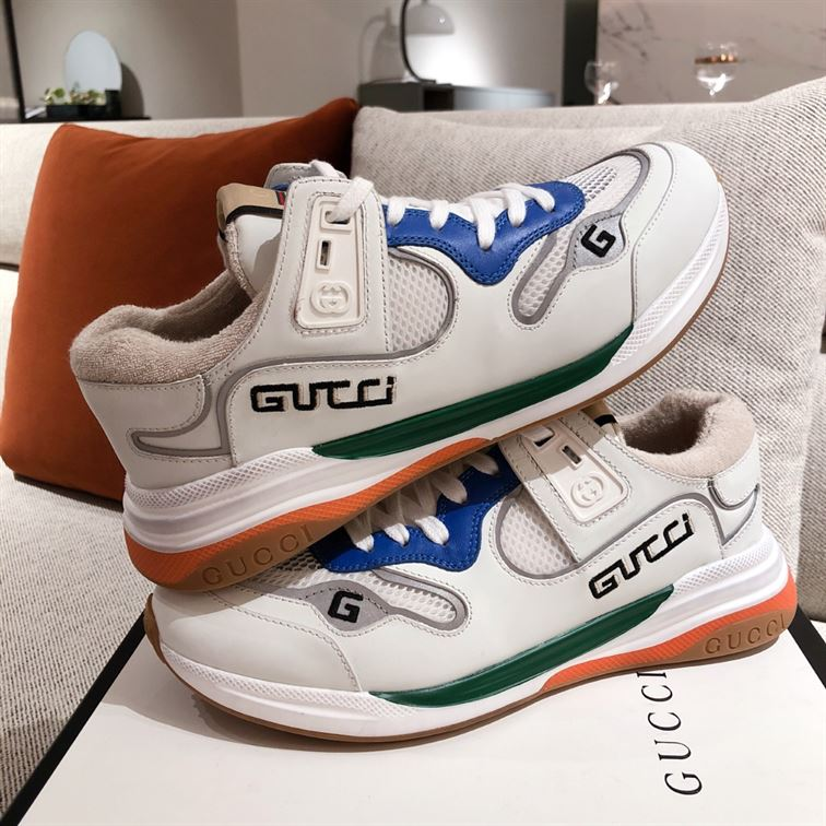 Gucci G Line Sneakers In Leather And Mesh Withe Embroidered Logo - Gcc034