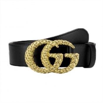Gucci Leather Belt W/ Textured Double G Buckle - BG29