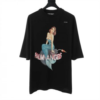 Palm Angels Cotton Embroidered Mermaid Double Layered T-Shirt With Print - PMA026