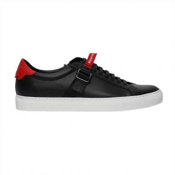 Givenchy Logo Strap Low Top Black/ Red Sneakers - G03V