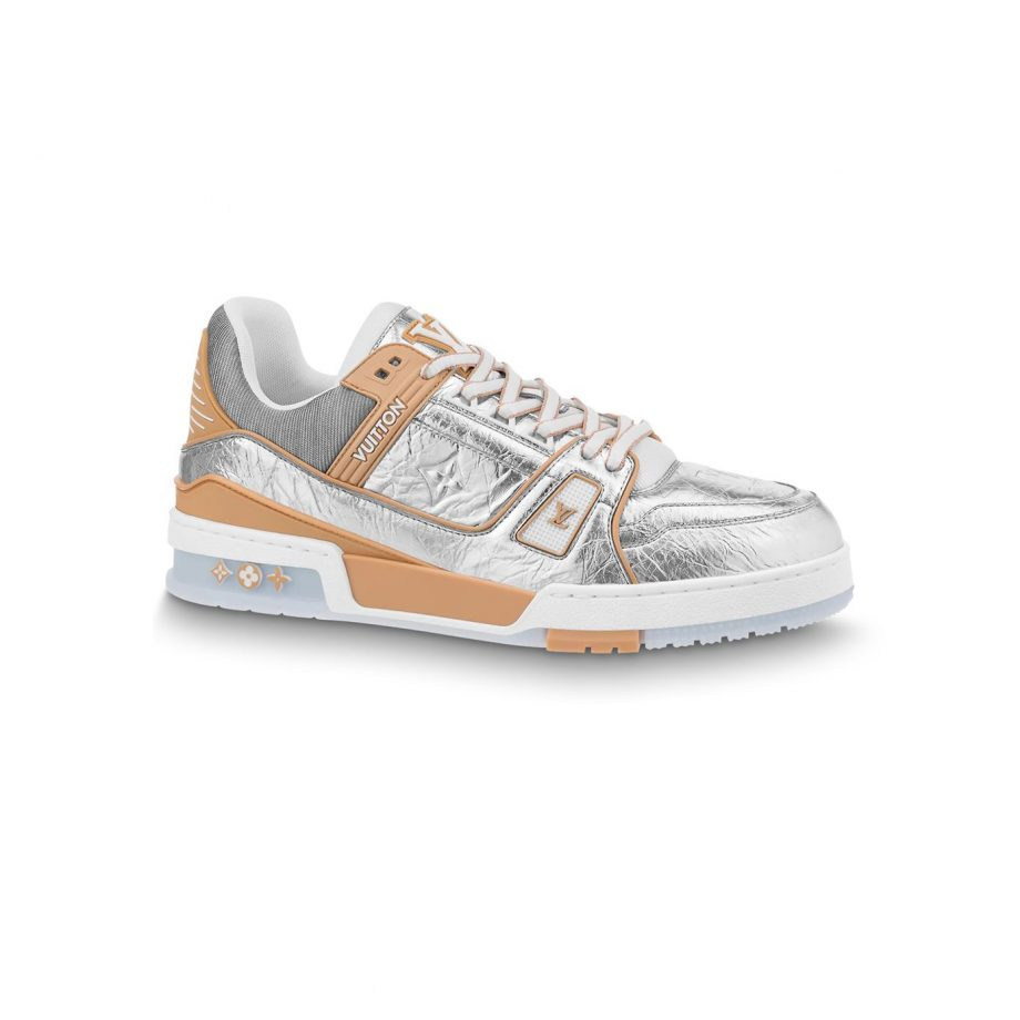 Louis Vuitton Trainer Sneakers Silver Metallic Leather- Lsvt101