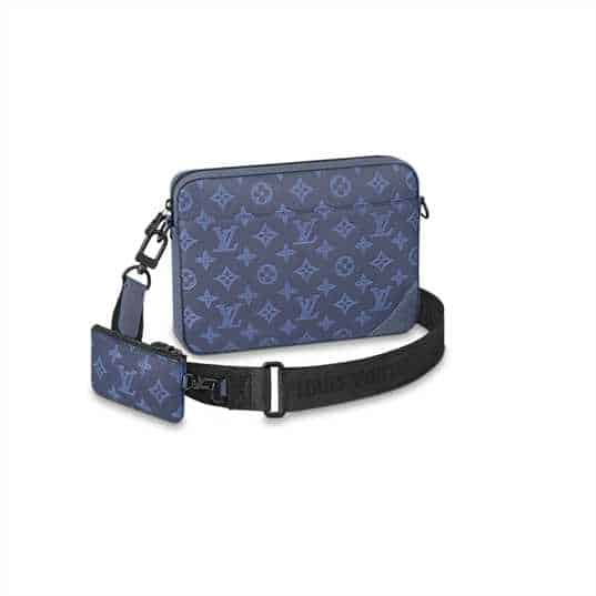 M45730 Louis Vuitton Duo Messenger Bag Navy Blue Monogram Shadow Cowhide Leather - Available with prices $180-$220.