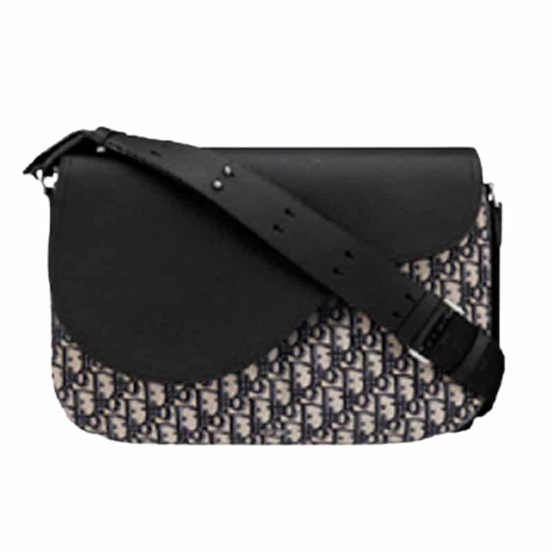 Beige and Black Dior Oblique Jacquard and Black Grained Calfskin