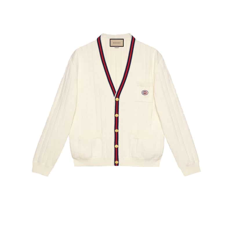Gucci Knit Cotton V Neck Cardigan With Web - SG04