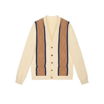 Gg Perforated Cotton Cardigan Ivory Navy And Tan Perforated Gg Cotton - SG05