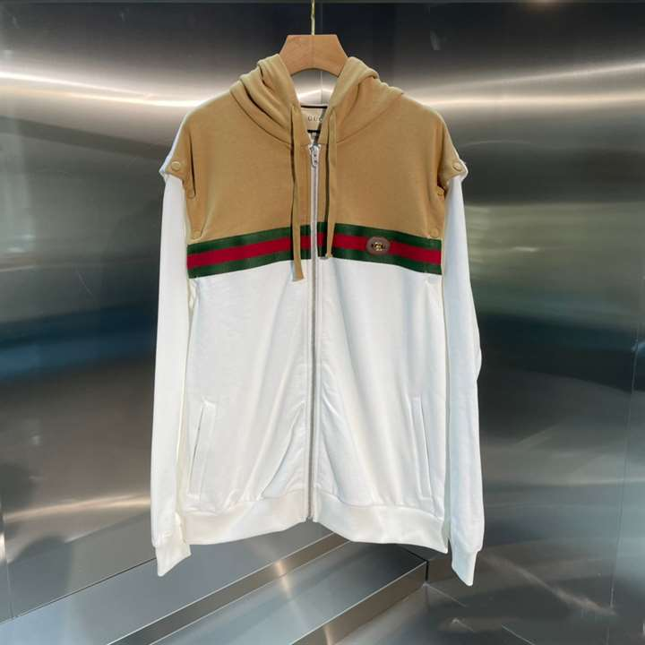 Gucci Cotton Sweater With Web Camel And Ivory Colored Felted Cotton Jersey - SG01